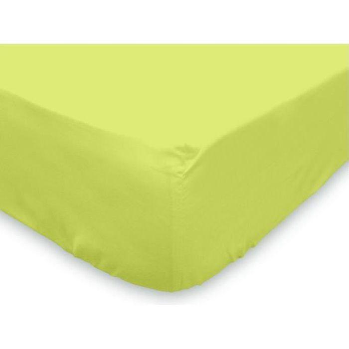 drap housse 140x190 cm coton uni vert anis achat vente. Black Bedroom Furniture Sets. Home Design Ideas
