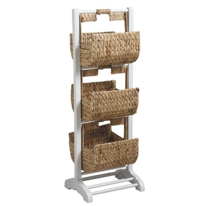 Meuble de salle de bain tag re 3 corbeilles en bois et for Meuble rangement salle de bain bois