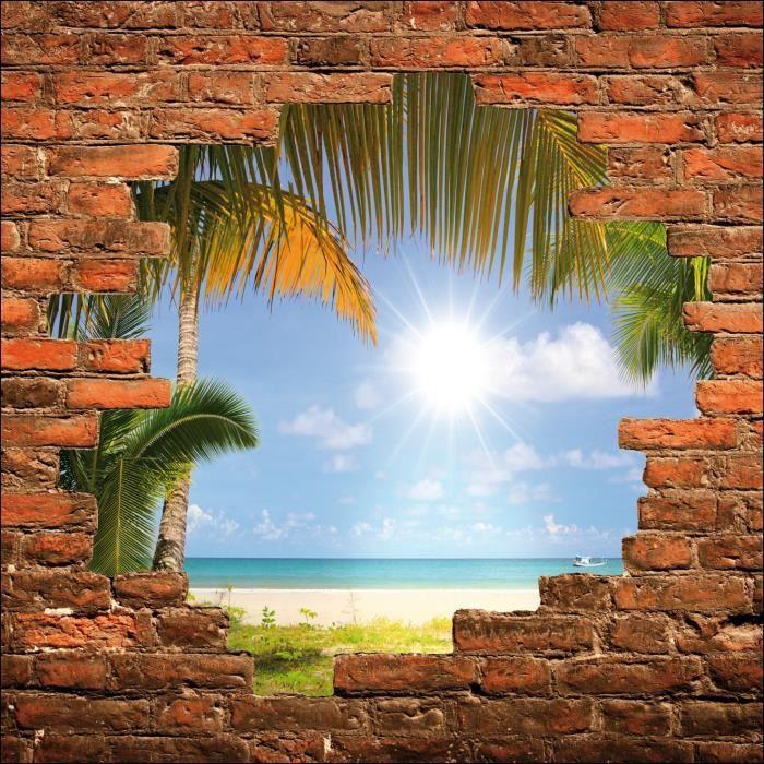 sticker mural trompe l 39 oeil mur de pierre plage dimensions 50x50cm achat vente stickers. Black Bedroom Furniture Sets. Home Design Ideas