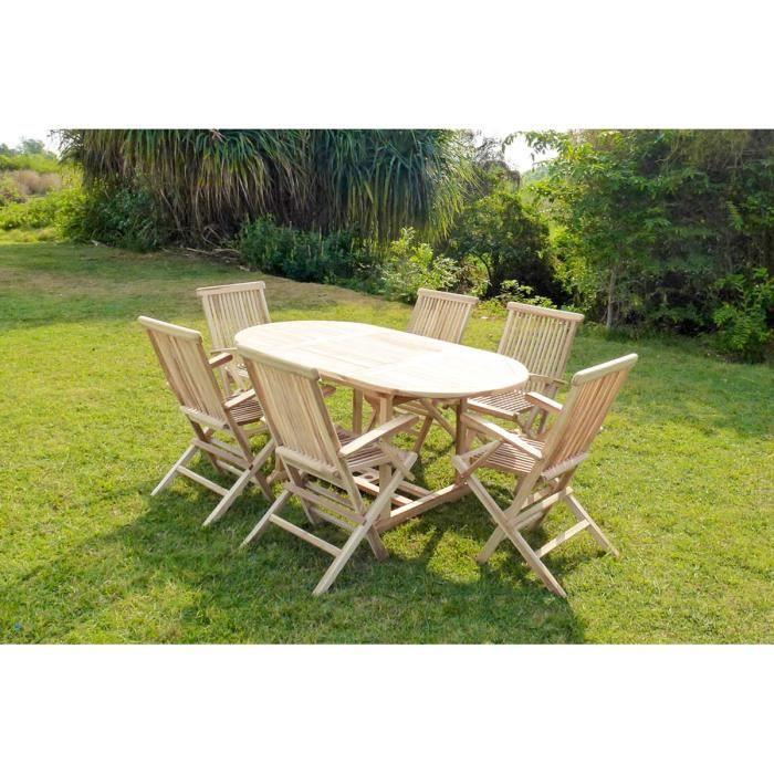Ensemble de jardin teck 6 fauteuils pliants revea achat - Ensemble de jardin ...