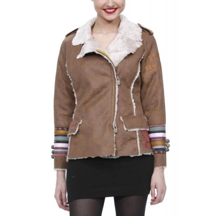 desigual manteau femme marron achat vente manteau. Black Bedroom Furniture Sets. Home Design Ideas