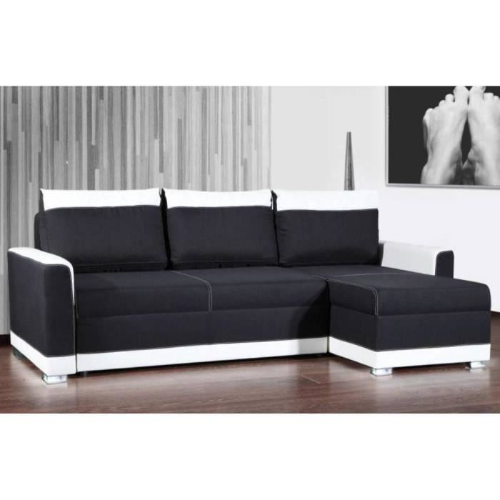 Canap d 39 angle gigogne convertible express carlow noir et for Canape couchage express