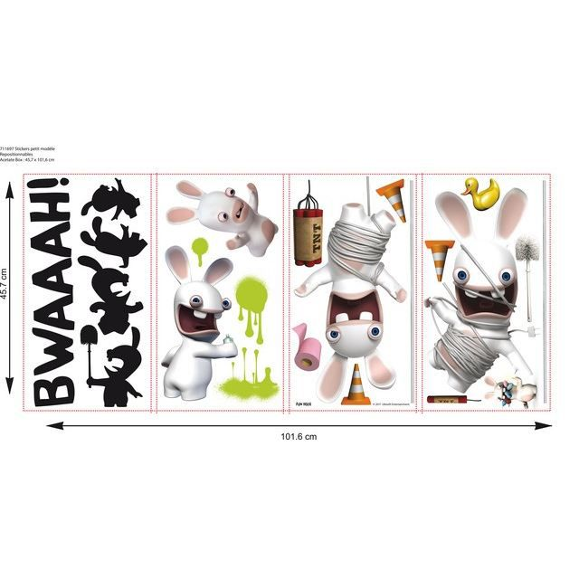 stickers repositionnable lapins cr tins achat vente stickers cdiscount. Black Bedroom Furniture Sets. Home Design Ideas