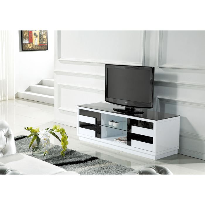 meuble tv design laqu blanc et noir quadra achat vente meuble tv meuble tv laqu blanc et. Black Bedroom Furniture Sets. Home Design Ideas