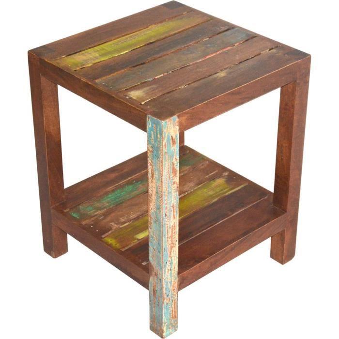 Table d 39 appoint dehli bois de manguier achat vente for Meuble en bois de manguier