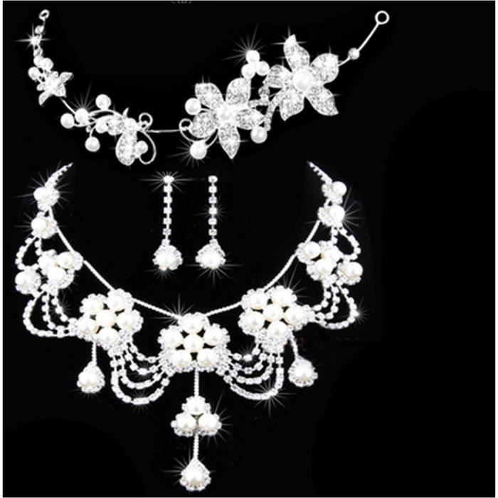 parure bijoux mariage collier boucles d 39 oreilles avec couvre chef achat vente parure parure. Black Bedroom Furniture Sets. Home Design Ideas