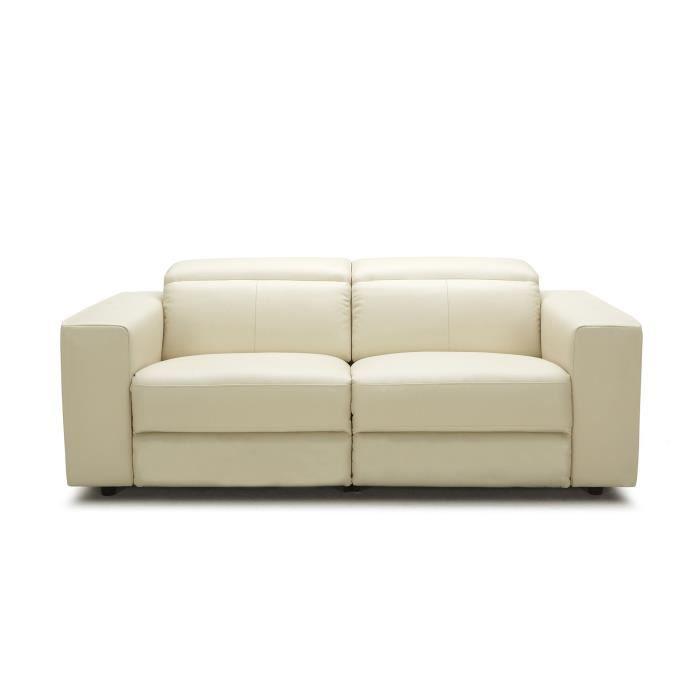 Val meuble canap 3 places relax lectrique en cuir de - Canape cuir beige 3 places ...