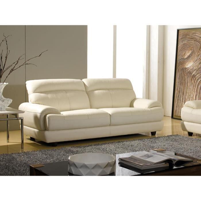 canap 233 cuir beige 3 places lesko achat vente canap 233 sofa divan cuir polyur 233 thane bois