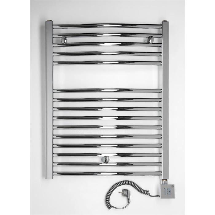 chauffage lectrique droit pour salle de bain chrom incurv 775 x 500 mm - Radiateur Electrique Salle De Bain