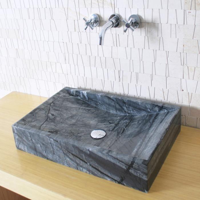 vasque poser en pierre rectangulaire marbre gris achat vente lavabo vasque vasque. Black Bedroom Furniture Sets. Home Design Ideas