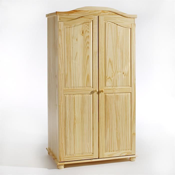 Armoire en pin 2 portes davos vernis naturel achat for Armoire en pin 2 portes