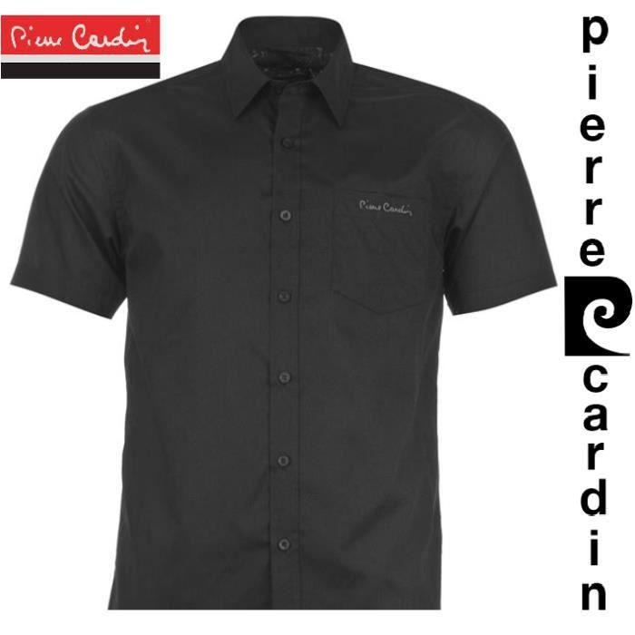 chemise homme pierre cardin manches courtes noir achat vente chemise chemisette soldes. Black Bedroom Furniture Sets. Home Design Ideas