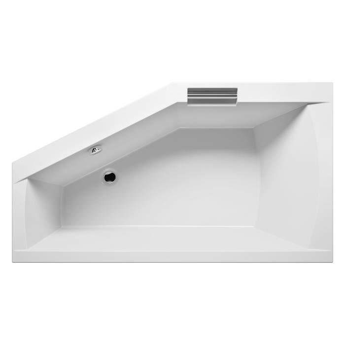 baignoire acrylique riho d 39 angle droite geta avec 2 poign es en m tal chrom int gr es la. Black Bedroom Furniture Sets. Home Design Ideas