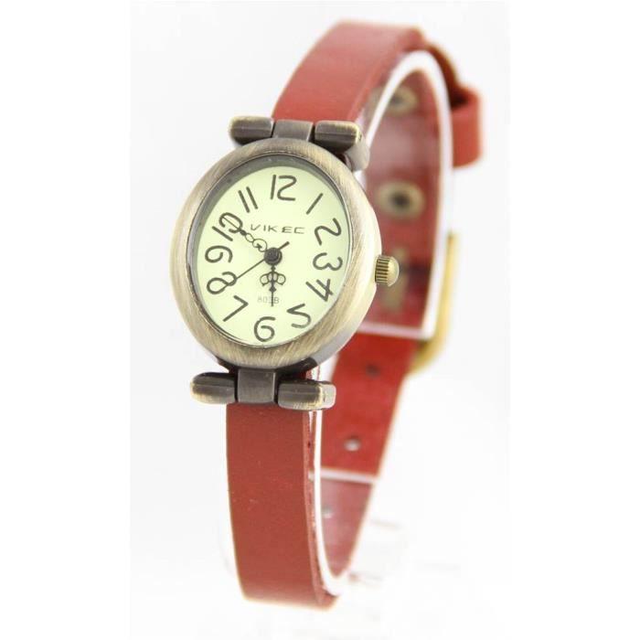 montre fantaisie femme cuir rouge vintage 710 achat vente montre montre fantaisie femme cuir. Black Bedroom Furniture Sets. Home Design Ideas