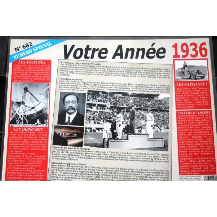 Set De Table Votre Annee De Naissance 1936 Achat