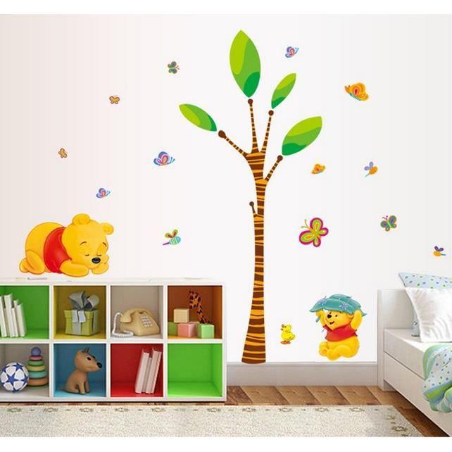 stickers muraux enfant winnie arbre et papillons achat vente stickers cdiscount. Black Bedroom Furniture Sets. Home Design Ideas