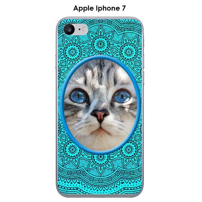 Coque Apple iphone 7 design Chat ovale Mandala rosace Bleu & Noir ...