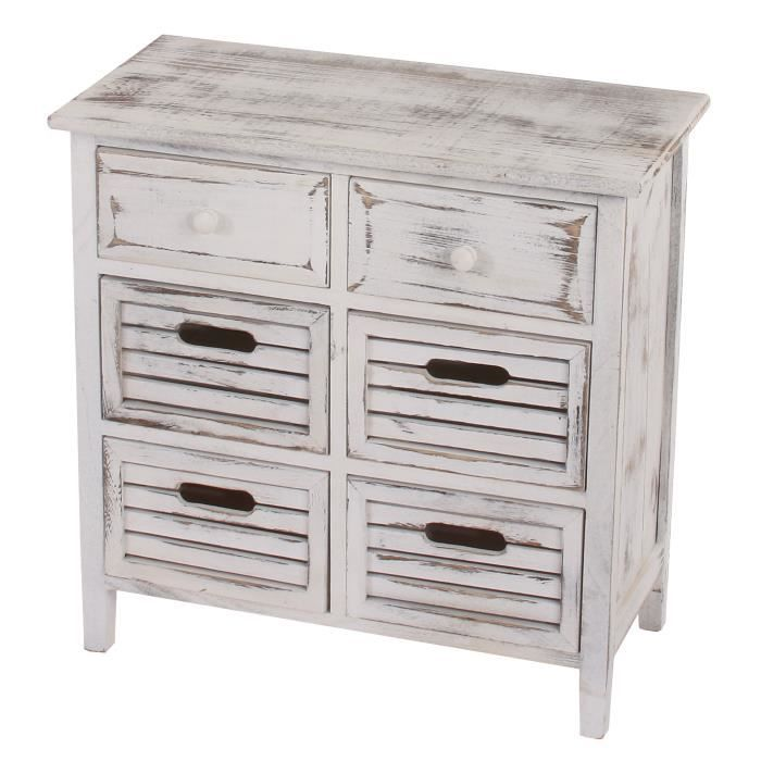 commode table d 39 appoint armoire 6 tiroirs 60x30x60cm shabby vintage blanc achat. Black Bedroom Furniture Sets. Home Design Ideas
