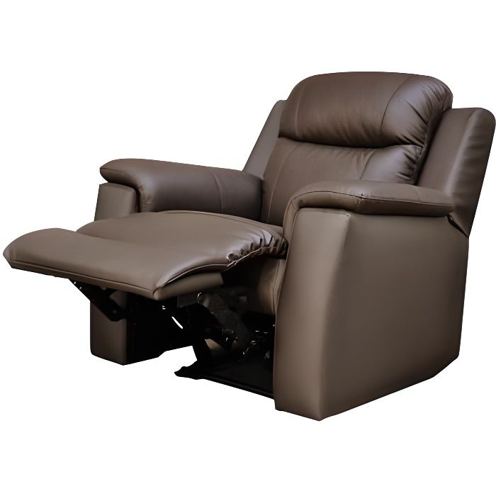 fauteuil relax evasion en cuir chocolat achat vente. Black Bedroom Furniture Sets. Home Design Ideas