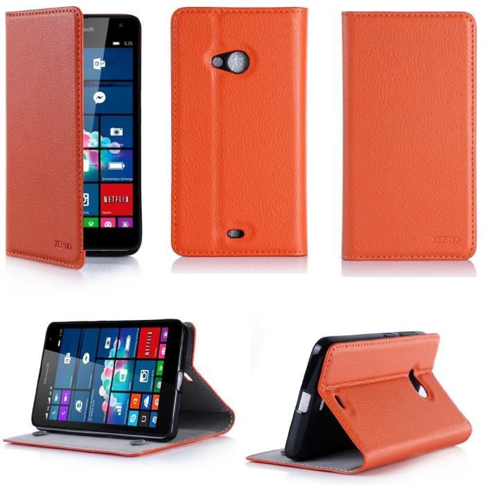 Etui coque microsoft lumia 640 orange nokia achat for Housse lumia 640