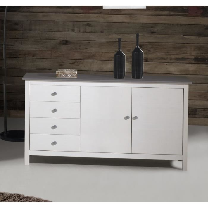 dina buffet 150 cm en pin teint blanc gris achat vente buffet bahut dina buffet 150 cm. Black Bedroom Furniture Sets. Home Design Ideas