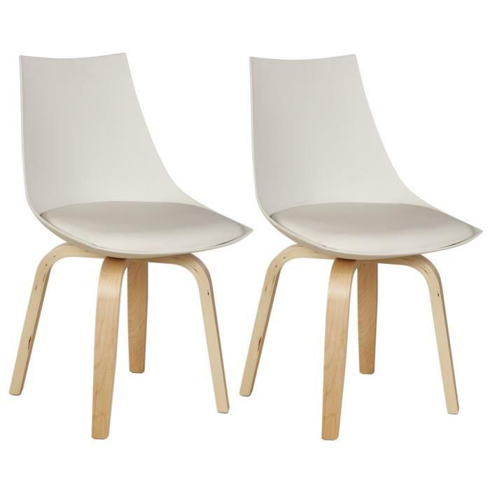 jonathan lot de 2 chaises de salle à manger blanc - achat / vente ... - Chaise De Salle A Manger Blanche