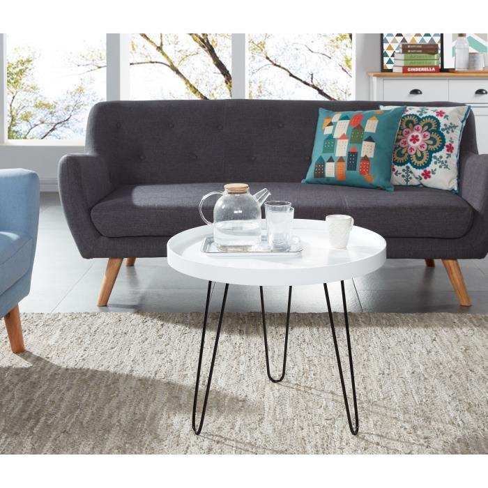 leontine table basse ronde style vintage en mdf laqu. Black Bedroom Furniture Sets. Home Design Ideas