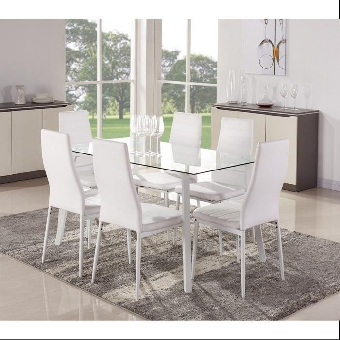 Solis ensemble repas laqu blanc 1 table 140cm 6 chaises for Table salle a manger grise