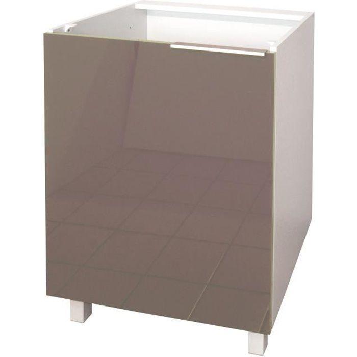 Pop meuble bas de cuisine 60 cm taupe haute brillance - Caisson de cuisine haut ...
