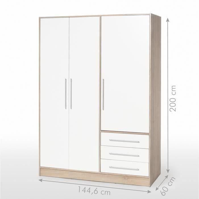 Jupiter armoire 145 cm ch ne blanc achat vente armoire - Armoire industrielle pas cher ...