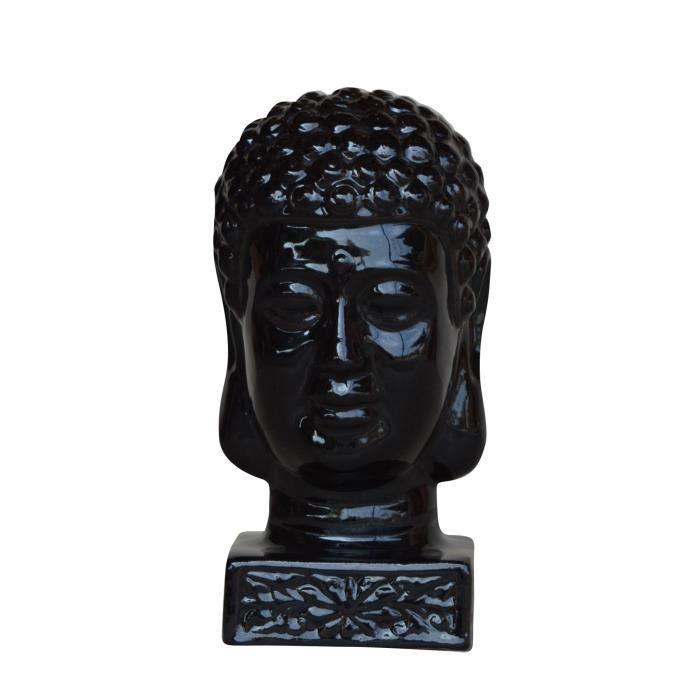 Homea t te de bouddha maill e d co 17xh33 cm noir for Tete de bouddha deco