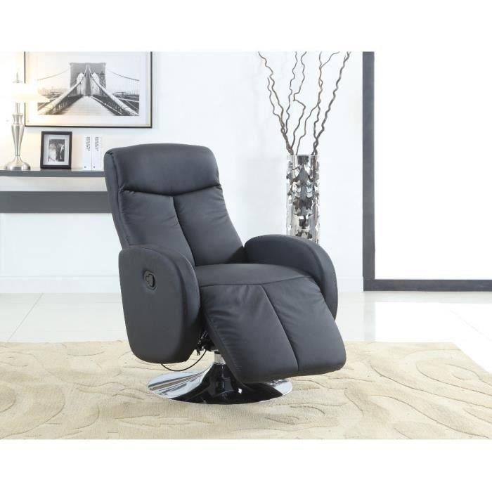 Softy fauteuil de relaxation articul en simili noir achat vente fauteu - Fauteuil relax en solde ...