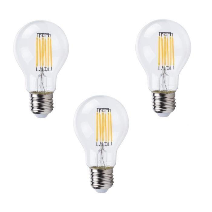 xq lite lot de 3 ampoules filament led e27 a60 xq1466 6 w quivalent 50 w blanc chaud achat. Black Bedroom Furniture Sets. Home Design Ideas