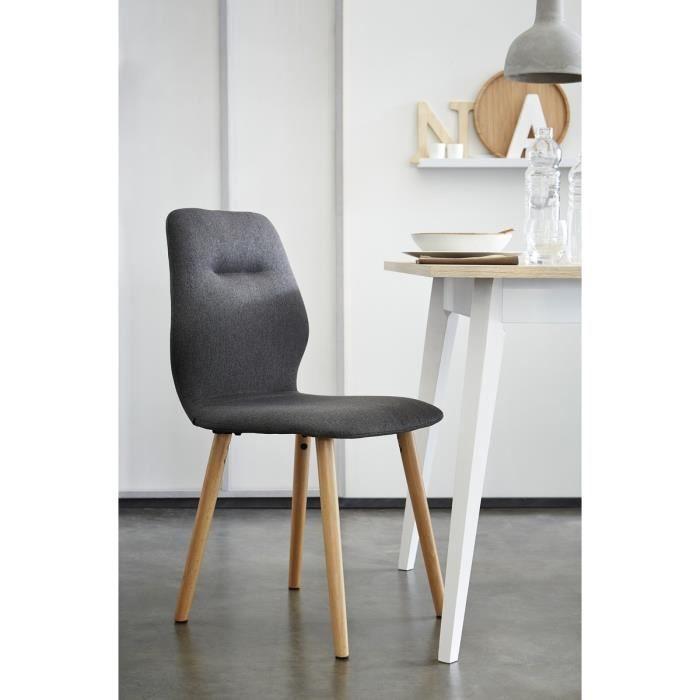 Hexa lot de 2 chaises de salle manger 45x55x88 cm gris - Lot de chaise salle a manger ...
