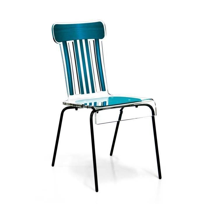 acrila chaise bistrot pieds m talliques bleu achat vente chaise bleu cdiscount. Black Bedroom Furniture Sets. Home Design Ideas