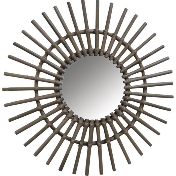 miroir soleil en rotin achat vente miroir rotin les soldes sur cdiscount cdiscount. Black Bedroom Furniture Sets. Home Design Ideas