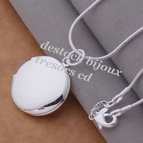 Pendentif porte photo rond gravure argent 925 achat vente sautoir et collier pendentif porte - Pendentif porte photo argent ...