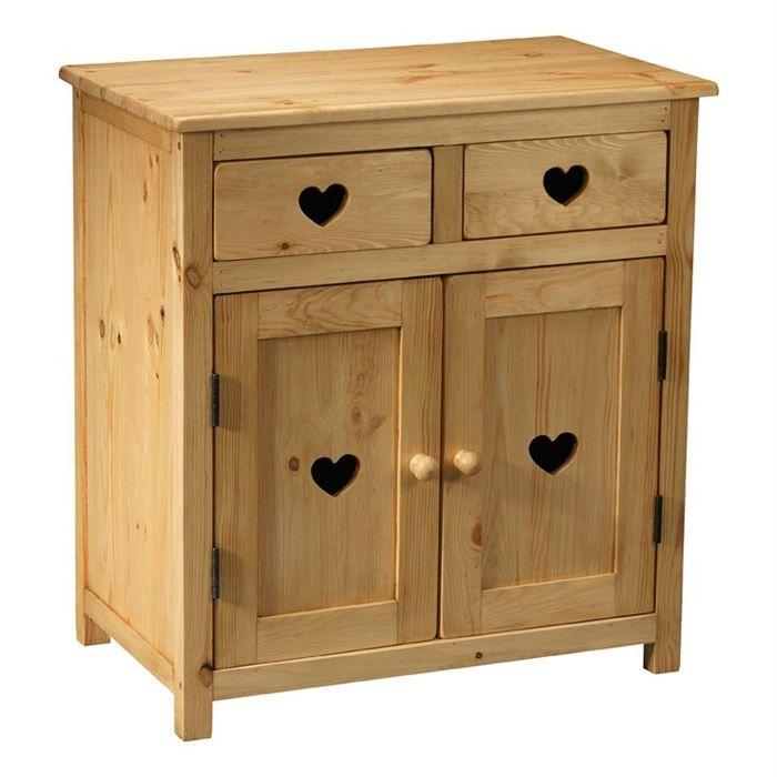 meuble rustique avec coeur 2 tiroirs 2 portes achat vente petit meuble rangement meuble. Black Bedroom Furniture Sets. Home Design Ideas