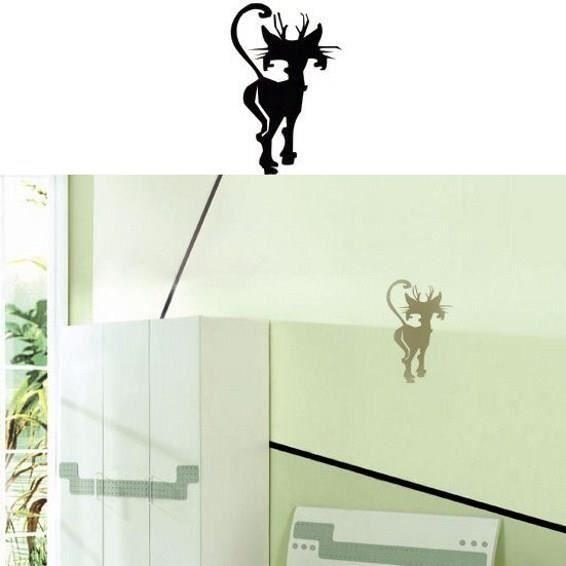 sticker mural chat design sticker blanc achat vente stickers cdiscount. Black Bedroom Furniture Sets. Home Design Ideas