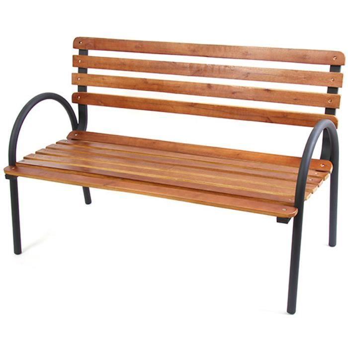 Banc de jardin s ville en bois et cadre en m tal coloris for Banc en metal pour jardin
