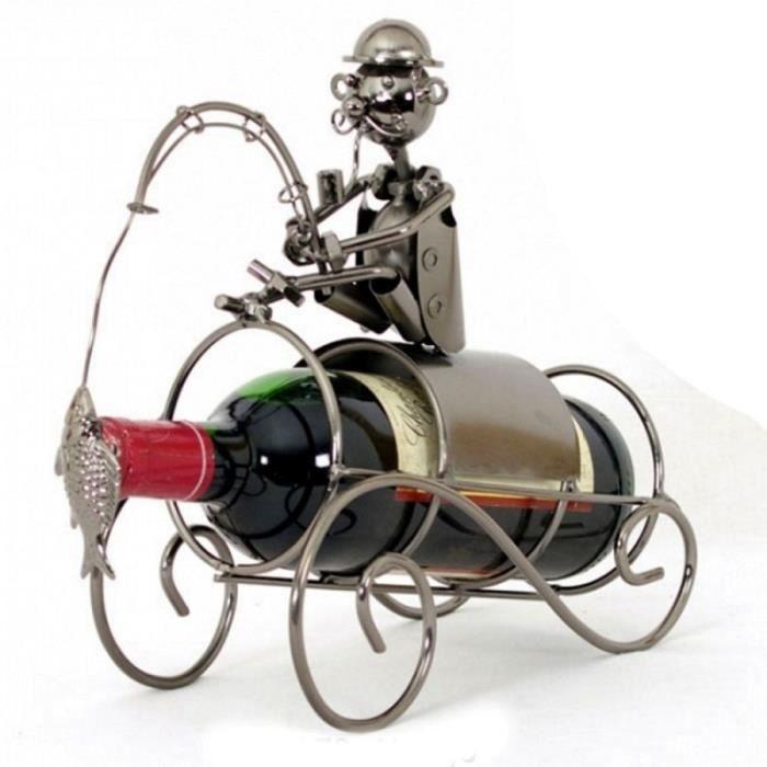 Porte bouteille m tal p cheur achat vente porte for Porte 6 bouteilles metal