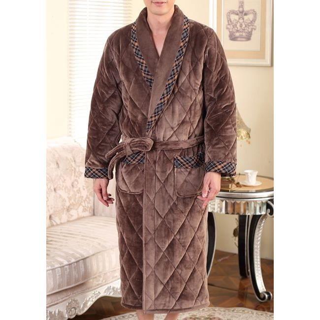 Robe de chambre homme matelass e marron fonc liseret achat vente robe de chambre soldes - Achat robe de chambre homme ...