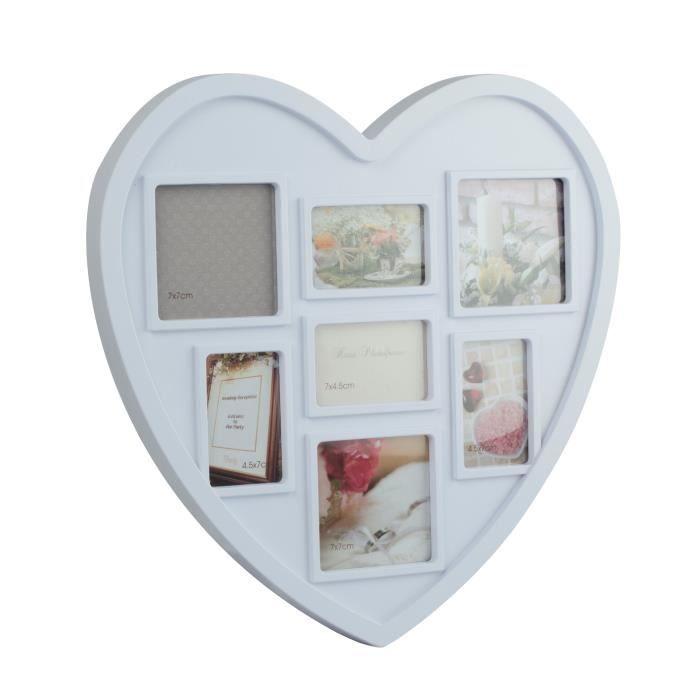 cadre photo p le m le coeur 7 vues blanc achat vente cadre photo cdiscount. Black Bedroom Furniture Sets. Home Design Ideas