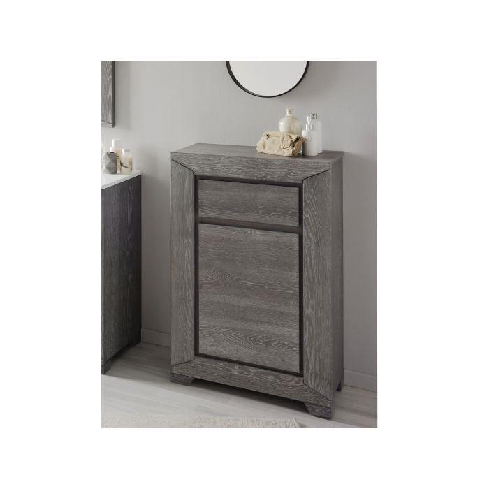 Colonne ch ne gris authentic l 70 cm achat vente for Colonne de salle de bain grise