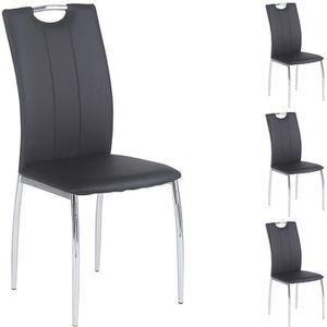 CHAISE Lot de 4 chaises APOLLO assise synthétique noir