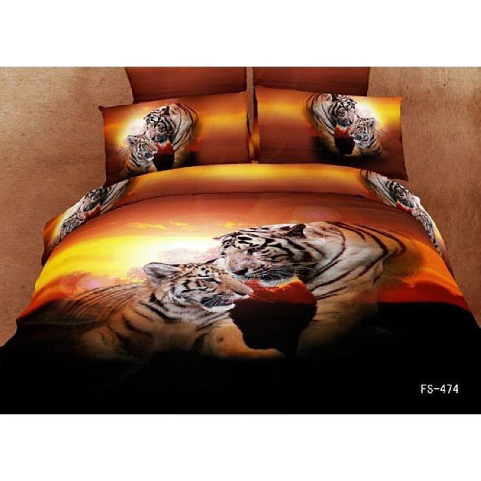 parure de lit la couple de tigre coton 200 230 cm 3d effet 4 piece achat vente housse de. Black Bedroom Furniture Sets. Home Design Ideas
