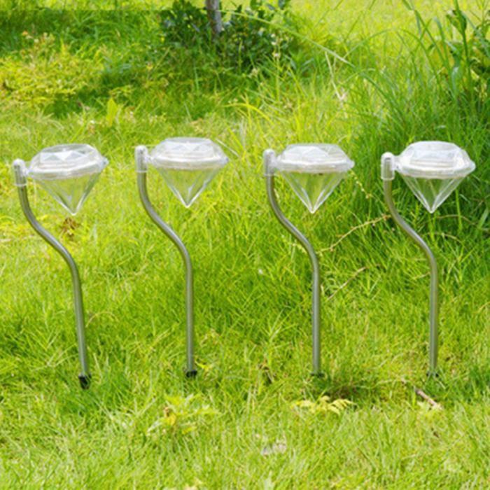 4pcs ext rieur solaire led diamant spotlight jardin for Eclairage jardin led electrique