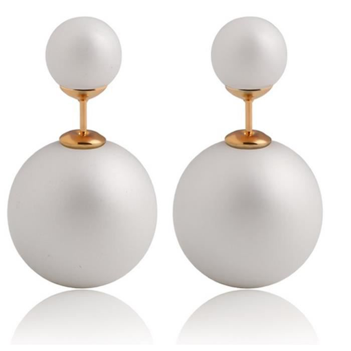 paire boucles d 39 oreilles femme perles acryliques double boules imitation nacre achat vente. Black Bedroom Furniture Sets. Home Design Ideas