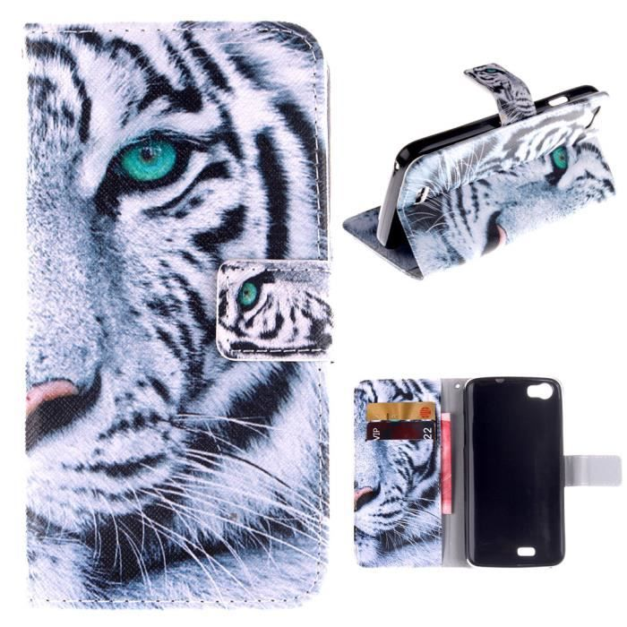 Pour wiko lenny coque tui rabat housse tigre animaux pu for Coque portefeuille wiko lenny 2