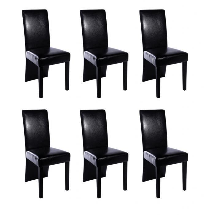 Lot de 6 chaises en simili cuir noir avec pieds en bois for Chaises en cuir noir